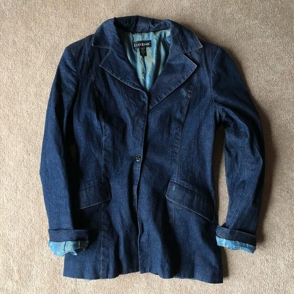 bebe Jackets & Blazers - Vintage bebe faux-denim blazer jacket